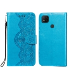 For Xiaomi Redmi 9C Flower Vine Embossing Pattern Horizontal Flip Leather Case with Card Slot & Holder & Wallet & Lanyard(Blue)