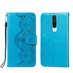 For Xiaomi Redmi K30 Flower Vine Embossing Pattern Horizontal Flip Leather Case with Card Slot & Holder & Wallet & Lanyard(Blue)
