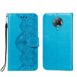 For Xiaomi Redmi K30 Pro Flower Vine Embossing Pattern Horizontal Flip Leather Case with Card Slot & Holder & Wallet & Lanyard(Blue)