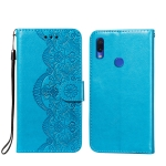 For Xiaomi Redmi Note 7 Flower Vine Embossing Pattern Horizontal Flip Leather Case with Card Slot & Holder & Wallet & Lanyard(Blue)