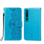 For Xiaomi Mi 10 Flower Vine Embossing Pattern Horizontal Flip Leather Case with Card Slot & Holder & Wallet & Lanyard(Blue)