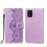 For Xiaomi Mi 10 Lite Flower Vine Embossing Pattern Horizontal Flip Leather Case with Card Slot & Holder & Wallet & Lanyard(Purple)