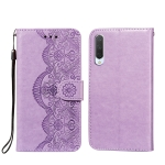 For Xiaomi Mi CC9 / Mi 9 Lite Flower Vine Embossing Pattern Horizontal Flip Leather Case with Card Slot & Holder & Wallet & Lanyard(Purple)
