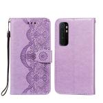 For Xiaomi Mi Note 10 Lite Flower Vine Embossing Pattern Horizontal Flip Leather Case with Card Slot & Holder & Wallet & Lanyard(Purple)