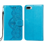 Flower Vine Embossing Pattern Horizontal Flip Leather Case with Card Slot & Holder & Wallet & Lanyard For iPhone 8 Plus & 7 Plus(Blue)