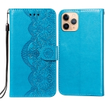 Flower Vine Embossing Pattern Horizontal Flip Leather Case with Card Slot & Holder & Wallet & Lanyard For iPhone 11 Pro(Blue)