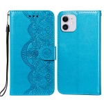 Flower Vine Embossing Pattern Horizontal Flip Leather Case with Card Slot & Holder & Wallet & Lanyard For iPhone 11(Blue)