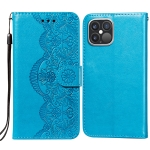 Flower Vine Embossing Pattern Horizontal Flip Leather Case with Card Slot & Holder & Wallet & Lanyard For iPhone 12 Pro Max(Blue)