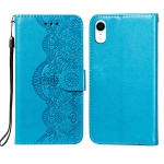 Flower Vine Embossing Pattern Horizontal Flip Leather Case with Card Slot & Holder & Wallet & Lanyard For iPhone XR(Blue)