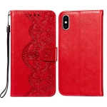 Flower Vine Embossing Pattern Horizontal Flip Leather Case with Card Slot & Holder & Wallet & Lanyard For iPhone XS Max(Red)