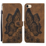 Retro Skin Feel Butterflies Embossing Horizontal Flip Leather Case with Holder & Card Slots & Wallet For iPhone SE 2020 / 8 / 7(Brown)