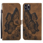 Retro Skin Feel Butterflies Embossing Horizontal Flip Leather Case with Holder & Card Slots & Wallet For iPhone 11 Pro Max(Brown)