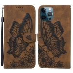 Retro Skin Feel Butterflies Embossing Horizontal Flip Leather Case with Holder & Card Slots & Wallet For iPhone 12 Pro Max(Brown)