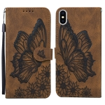 Retro Skin Feel Butterflies Embossing Horizontal Flip Leather Case with Holder & Card Slots & Wallet For iPhone X / XS(Brown)