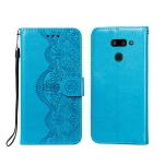For LG G8 ThinQ Flower Vine Embossing Pattern Horizontal Flip Leather Case with Card Slot & Holder & Wallet & Lanyard(Blue)