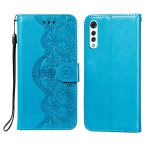 For LG G9 Flower Vine Embossing Pattern Horizontal Flip Leather Case with Card Slot & Holder & Wallet & Lanyard(Blue)