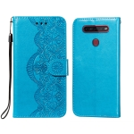 For LG K41S / K51S Flower Vine Embossing Pattern Horizontal Flip Leather Case with Card Slot & Holder & Wallet & Lanyard(Blue)
