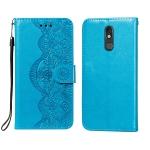 For LG Stylo 5 Flower Vine Embossing Pattern Horizontal Flip Leather Case with Card Slot & Holder & Wallet & Lanyard(Blue)