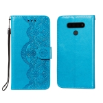 For LG Stylo 6 Flower Vine Embossing Pattern Horizontal Flip Leather Case with Card Slot & Holder & Wallet & Lanyard(Blue)