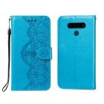 For LG Stylo 6 Flower Vine Embossing Pattern Horizontal Flip Leather Case with Card Slot & Holder & Wallet & Lanyard(Blue)