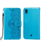 For LG K20 Flower Vine Embossing Pattern Horizontal Flip Leather Case with Card Slot & Holder & Wallet & Lanyard(Blue)
