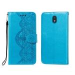 For LG K30 Flower Vine Embossing Pattern Horizontal Flip Leather Case with Card Slot & Holder & Wallet & Lanyard(Blue)