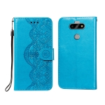 For LG K31 Flower Vine Embossing Pattern Horizontal Flip Leather Case with Card Slot & Holder & Wallet & Lanyard(Blue)