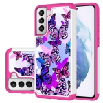 For Samsung Galaxy S21 5G Coloured Drawing Pattern PU + TPU Protective Case(Butterfly)