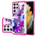 For Samsung Galaxy S21 Ultra 5G Coloured Drawing Pattern PU + TPU Protective Case(Butterfly)