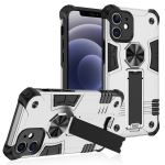 Shockproof TPU + PC Protective Case with Invisible Holder For iPhone 12(Silver)