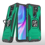 For Xiaomi Redmi Note 8 Pro Magnetic Armor Shockproof TPU + PC Case with Metal Ring Holder(Dark Green)