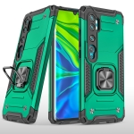 For Xiaomi Mi CC9 Pro Magnetic Armor Shockproof TPU + PC Case with Metal Ring Holder(Dark Green)