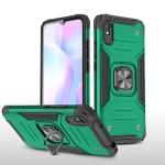 For Xiaomi Redmi 9A Magnetic Armor Shockproof TPU + PC Case with Metal Ring Holder(Dark Green)