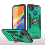 For Xiaomi Redmi 9C Magnetic Armor Shockproof TPU + PC Case with Metal Ring Holder(Dark Green)