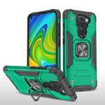 For Xiaomi Redmi Note 9 Magnetic Armor Shockproof TPU + PC Case with Metal Ring Holder(Dark Green)