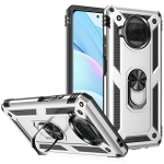 For Xiaomi Mi 10 Lite 5G Shockproof TPU + PC Protective Case with 360 Degree Rotating Holder(Silver)