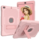 Contrast Color Robot Shockproof Silicone + PC Protective Case with Holder For iPad 9.7 (2017/2018)(Rose Gold)