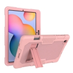 Contrast Color Robot Shockproof Silicone + PC Protective Case with Holder For Samsung Galaxy Tab S6 Lite P610(Rose Gold)