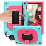 For Amazon Kindle Fire HD 8 2020 360 Degree Rotation Turntable Contrast Color Robot Shockproof Silicone + PC Protective Case with Holder(Mint Green + Rose Red)