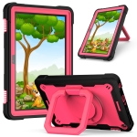 For Amazon Kindle Fire HD 8 (2020) Contrast Color Shockproof Robot Silicone + PC Case with Wristband Holder(Red + Black)