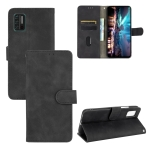 For UMIDIGI A7S Solid Color Skin Feel Magnetic Buckle Horizontal Flip Calf Texture PU Leather Case with Holder & Card Slots & Wallet(Black)