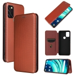 For UMIDIGI A9 Pro Carbon Fiber Texture Magnetic Horizontal Flip TPU + PC + PU Leather Case with Card Slot(Brown)
