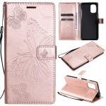 For OnePlus 8T 3D Butterflies Embossing Pattern Horizontal Flip Leather Case with Holder & Card Slot & Wallet(Rose Gold)