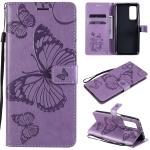 For Xiaomi Mi 10T / Mi 10T Pro 3D Butterflies Embossing Pattern Horizontal Flip Leather Case with Holder & Card Slot & Wallet(Purple)