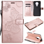 For Nokia 3.4 3D Butterflies Embossing Pattern Horizontal Flip Leather Case with Holder & Card Slot & Wallet(Rose Gold)
