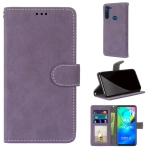 For Motorola Moto G8 Power Retro Frosted Horizontal Flip PU Leather Case with Holder & Card Slots & Wallet & Photo Frame(Purple)