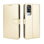 For vivo Y51A 2021 / Y51 2020 (Indian) Retro Crazy Horse Texture Horizontal Flip Leather Case with Holder & Card Slots & Lanyard(Gold)