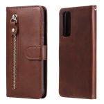 For Huawei P smart 2021 Fashion Calf Texture Zipper Horizontal Flip Leather Case with Stand & Card Slots & Wallet Function(Brown)