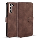 For Samsung Galaxy S21+ 5G DG.MING Retro Oil Side Horizontal Flip Case with Holder & Card Slots & Wallet(Coffee)