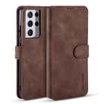 For Samsung Galaxy S21 Ultra 5G DG.MING Retro Oil Side Horizontal Flip Case with Holder & Card Slots & Wallet(Coffee)